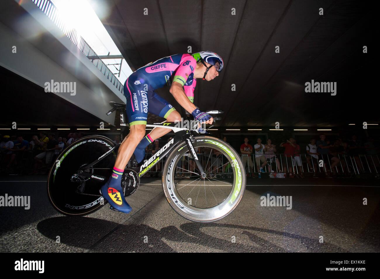 Utrecht, Pays-Bas. Le 04 juillet, 2015. Rui Costa (Lampre) pendant le contre-la-montre individuel du Tour de France Photo Stock