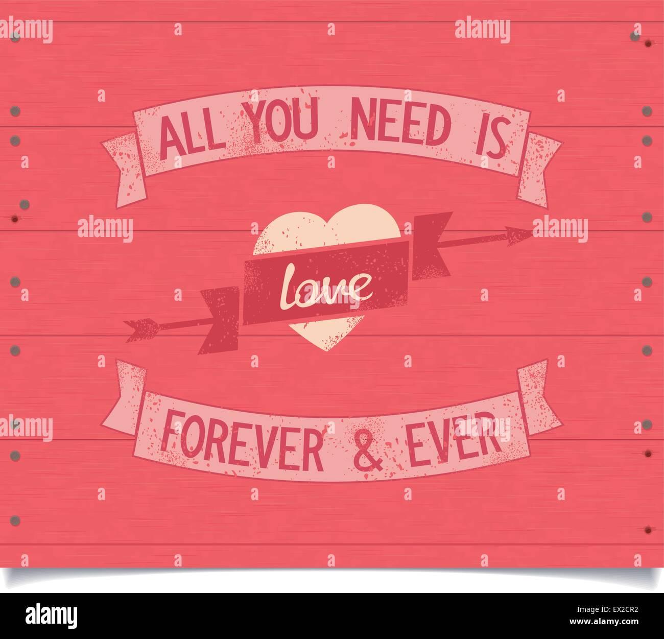 All you need is love vintage design américain précédemment avec des rubans. Vector EPS8 Illustration de Vecteur