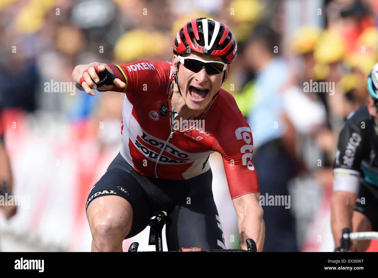 Utrecht, Pays-Bas. 05 juillet, 2015. Andre GREIPEL de Lotto Soudal célèbre la victoire lors de l'étape Photo Stock