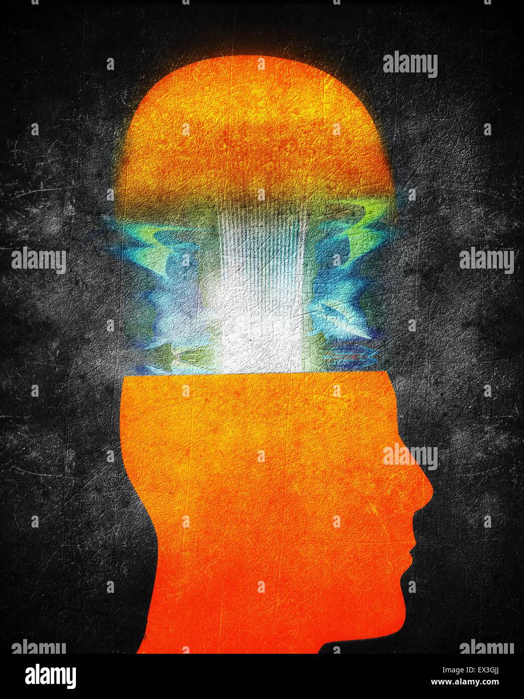 La créativité concept illustration avec orange tête humaine Photo Stock