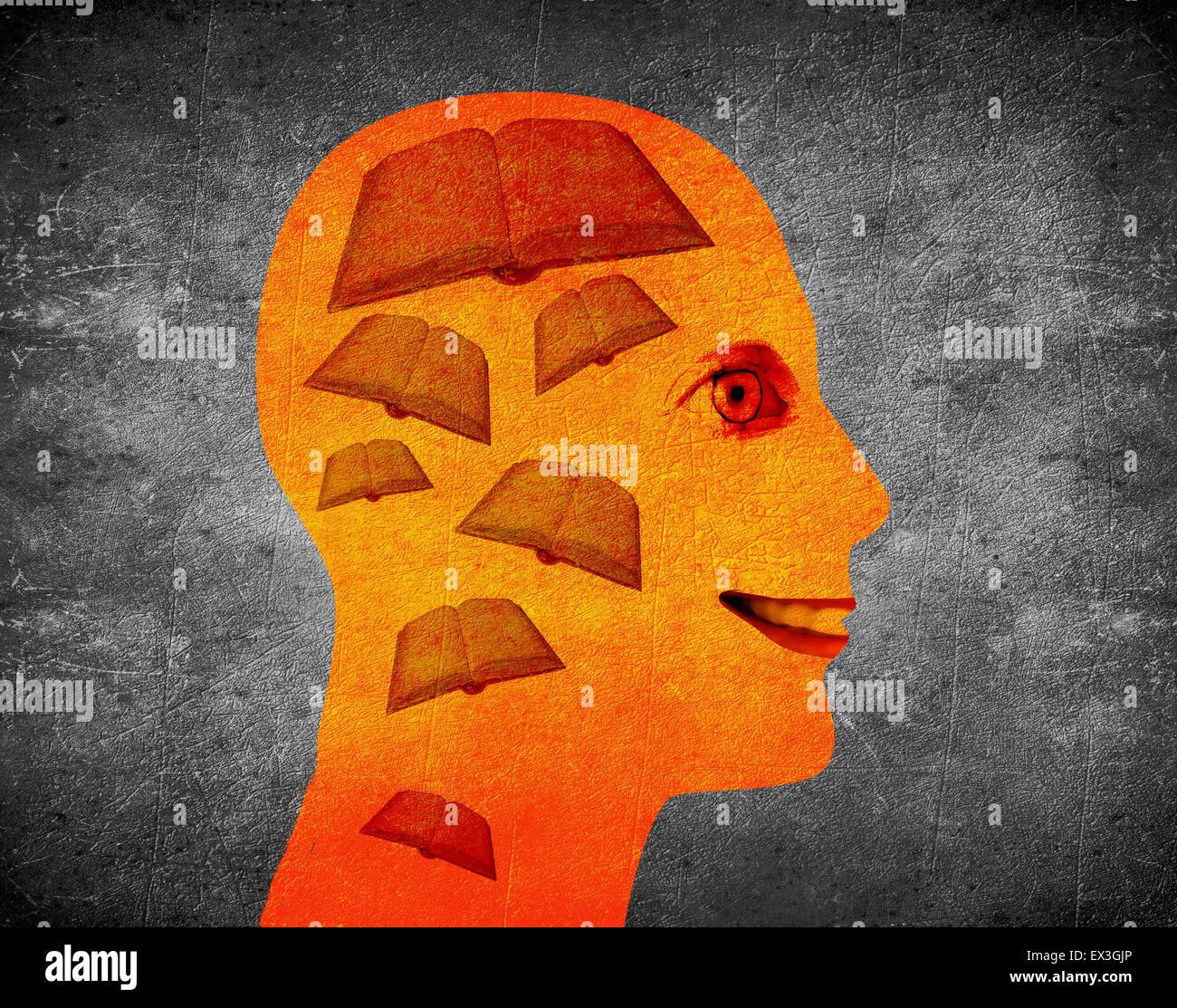 La lecture de l'illustration du livre concept avec tête humaine et livres Photo Stock