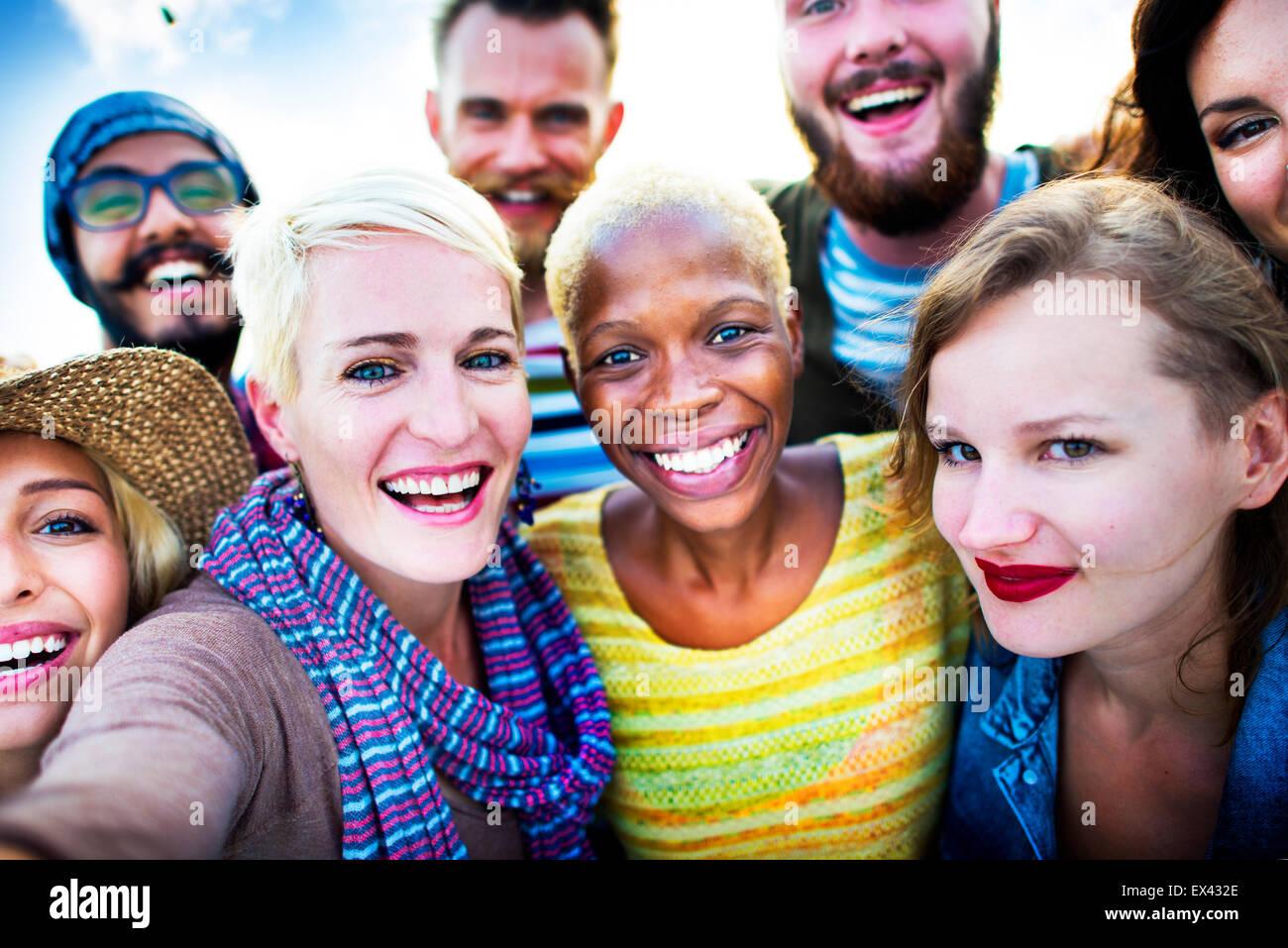 L'amitié bonheur Selfies Plage été Concept Photo Stock