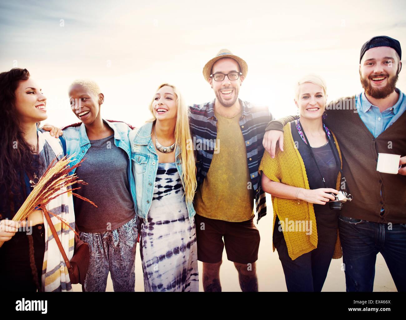 Amitié amis Vacances Loisirs Concept amusant ensemble Photo Stock