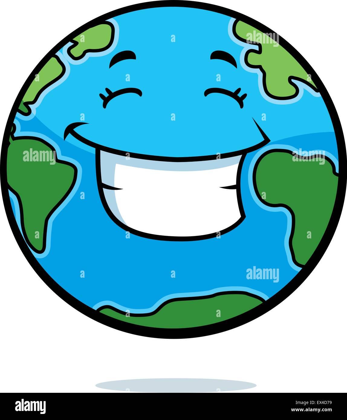 Un Dessin De La Planète Terre Heureux Et Souriants Vecteurs Et