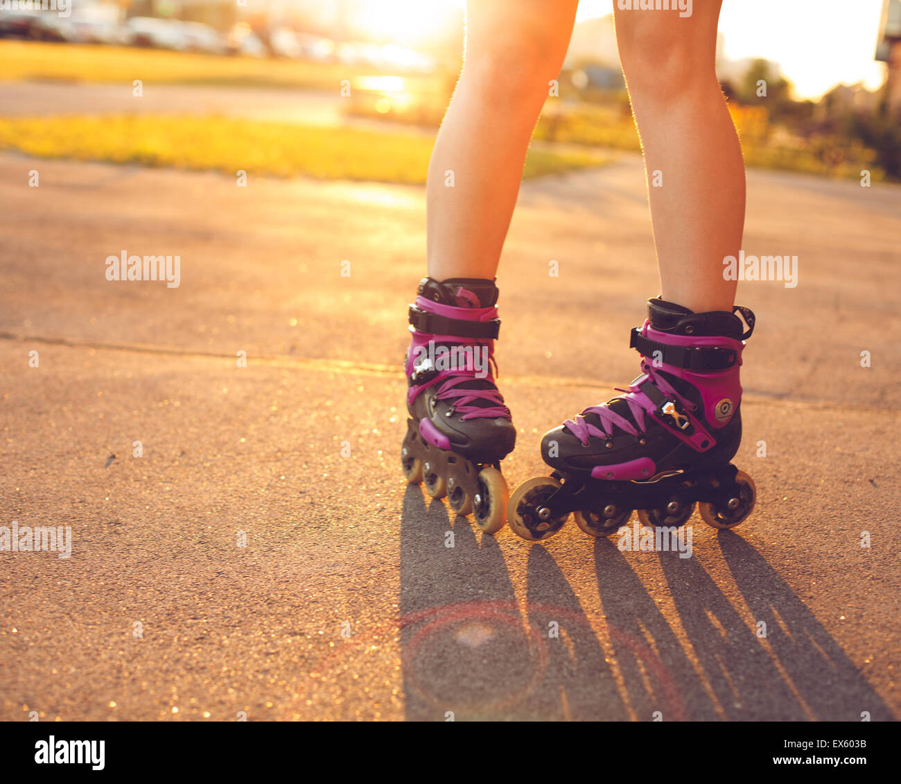 Close up on roller skate shoes Photo Stock