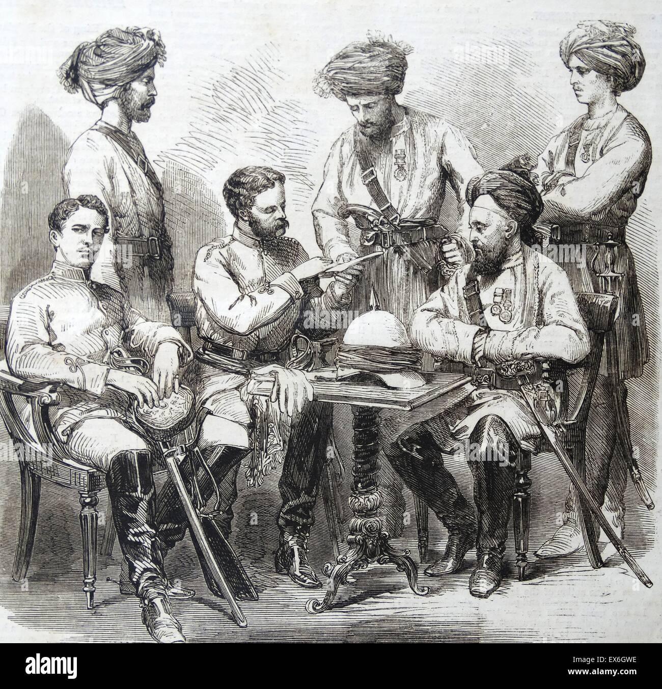 Gravure représentant les agents britanniques et les Autochtones de la fane's Horse servant en Chine. Datée 1860 Banque D'Images