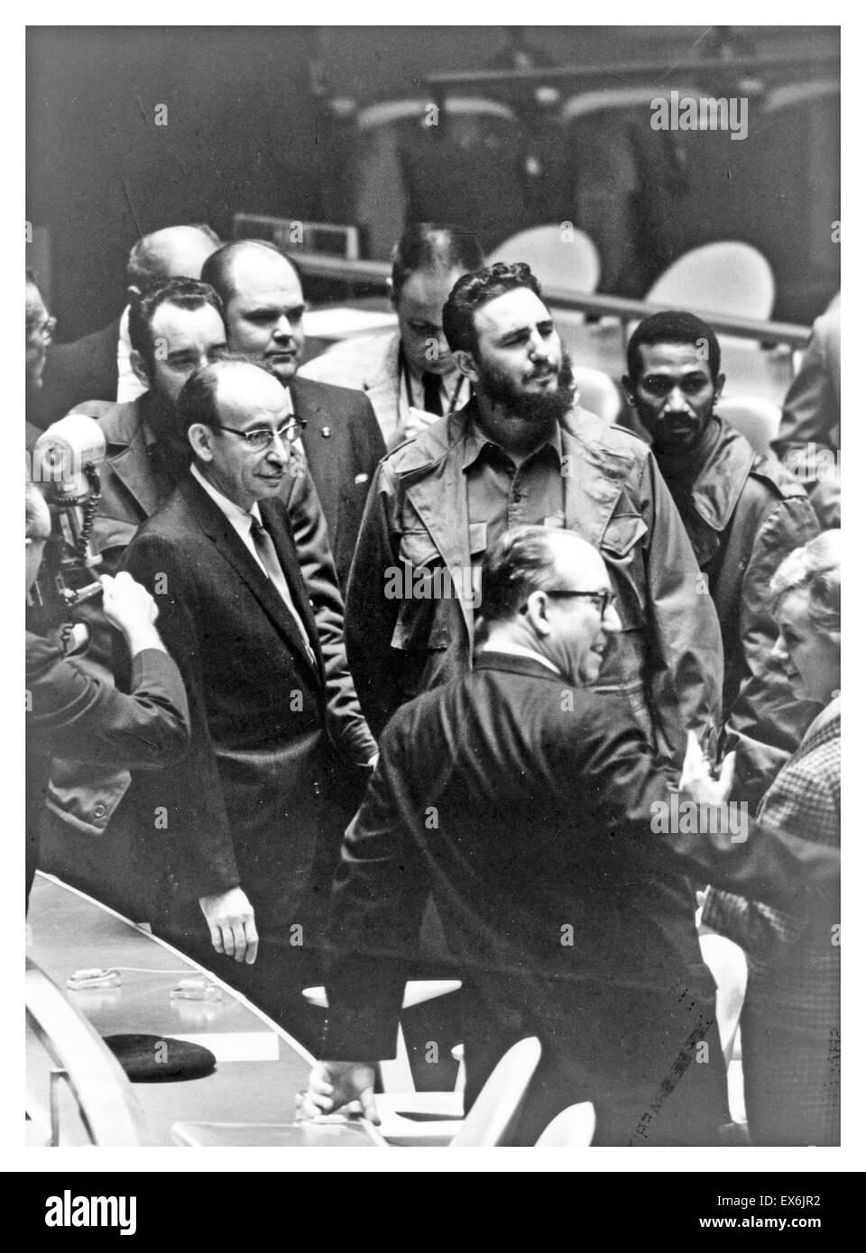 Fidel Castro visite l'Organisation des Nations Unies à New York, avec la délégation de Cuba 1959 Photo Stock