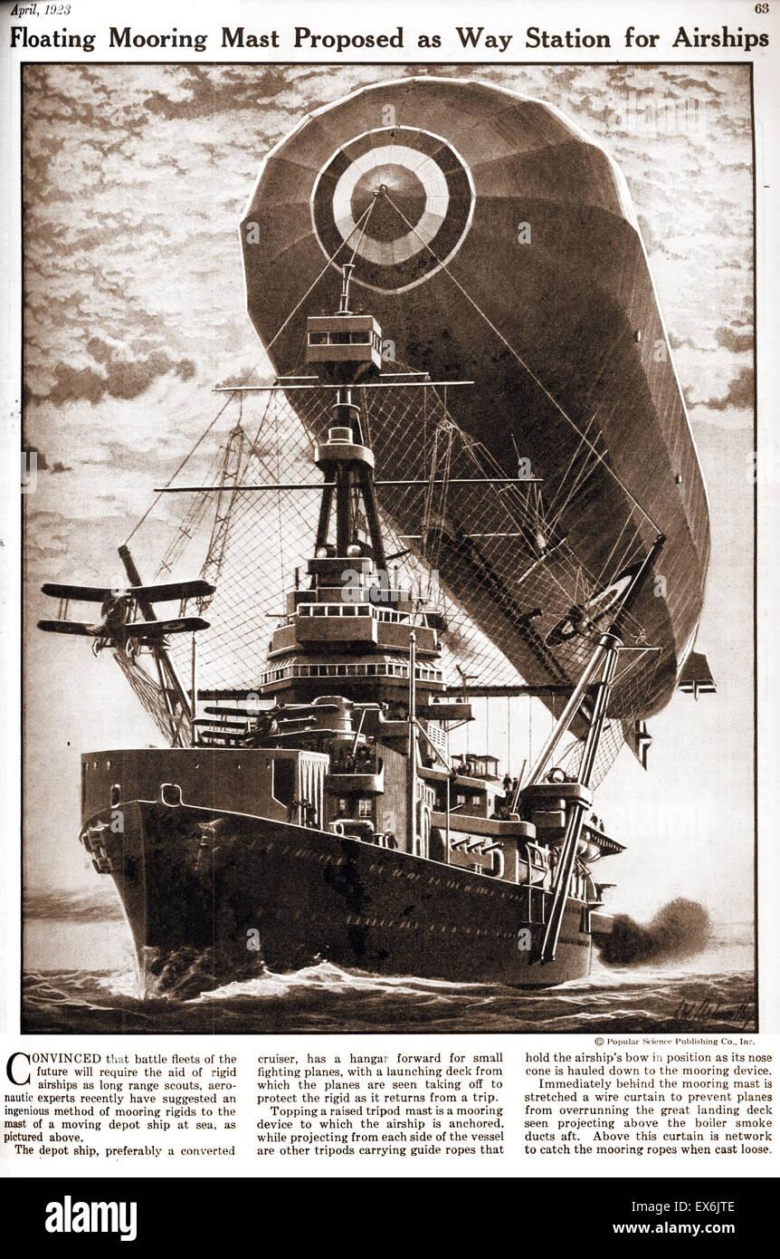 Mât d'amarrage flottant. Concept pour une station d'accueil pour les dirigeables 1937 Photo Stock