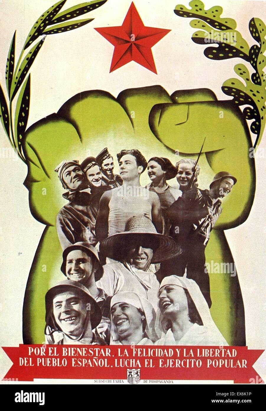 Guerre civile espagnole affiche républicaine 1937 Banque D'Images