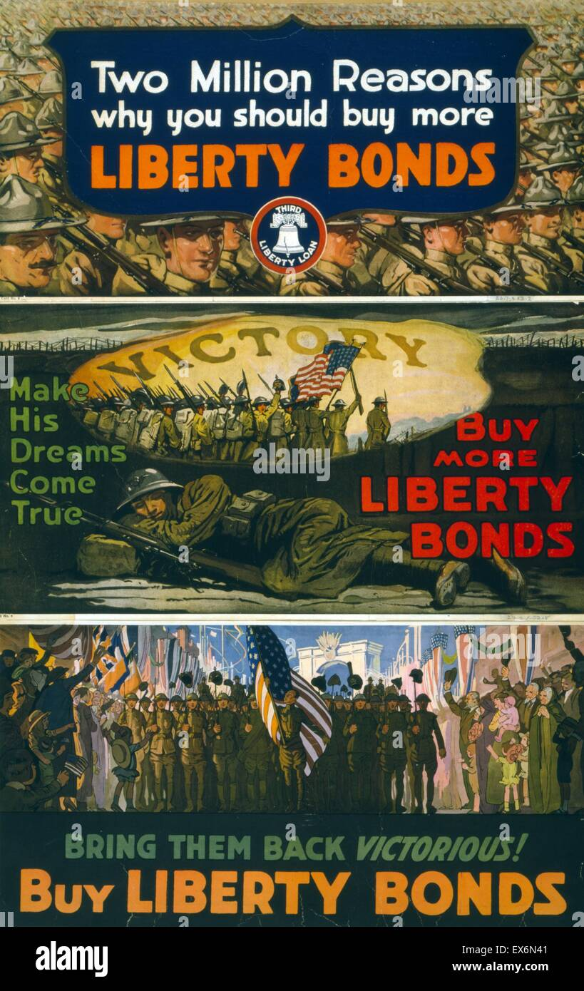 World War One Liberty Bond poster. Affiche illustre Soldiers marching. Datée 1918 Photo Stock