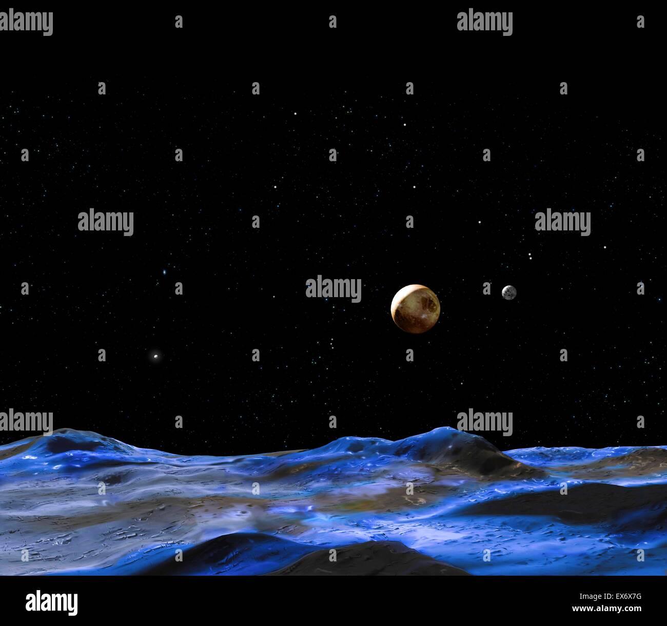 L'artiste montre concept 2015 Pluton et certains de ses satellites. Photo Stock