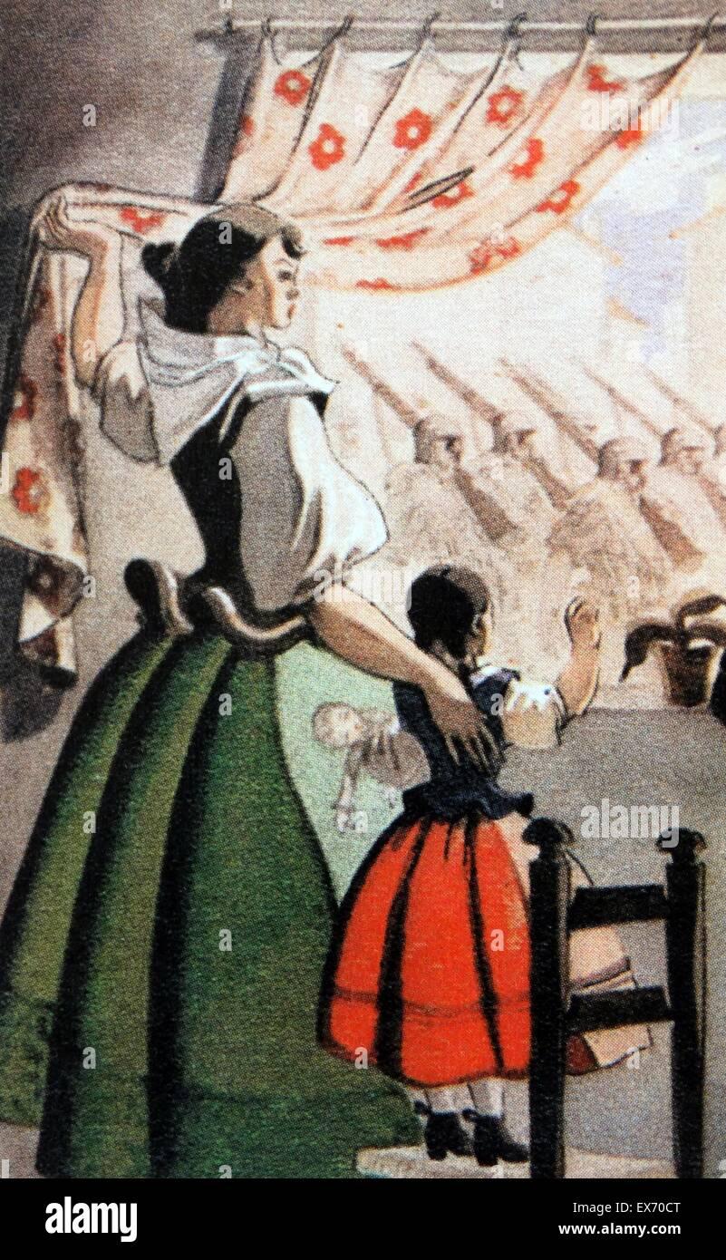 Un Falangist (pro-fasciste) Carte postale à partir de la période de la guerre civile espagnole extolls Photo Stock