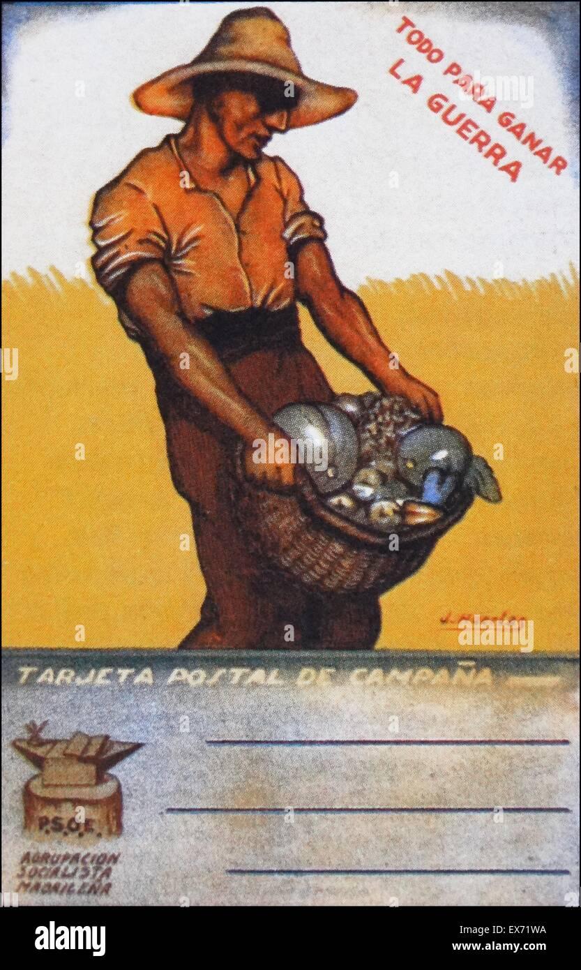 Carte postale républicaine délivrés en Espagne, pendant la Guerre Civile Espagnole pour célébrer Photo Stock