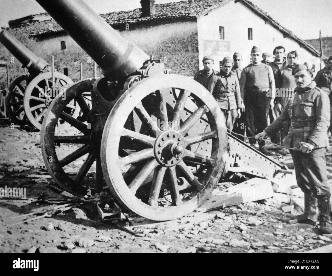 Unité de l'artillerie républicaine pendant la guerre civile espagnole Photo Stock