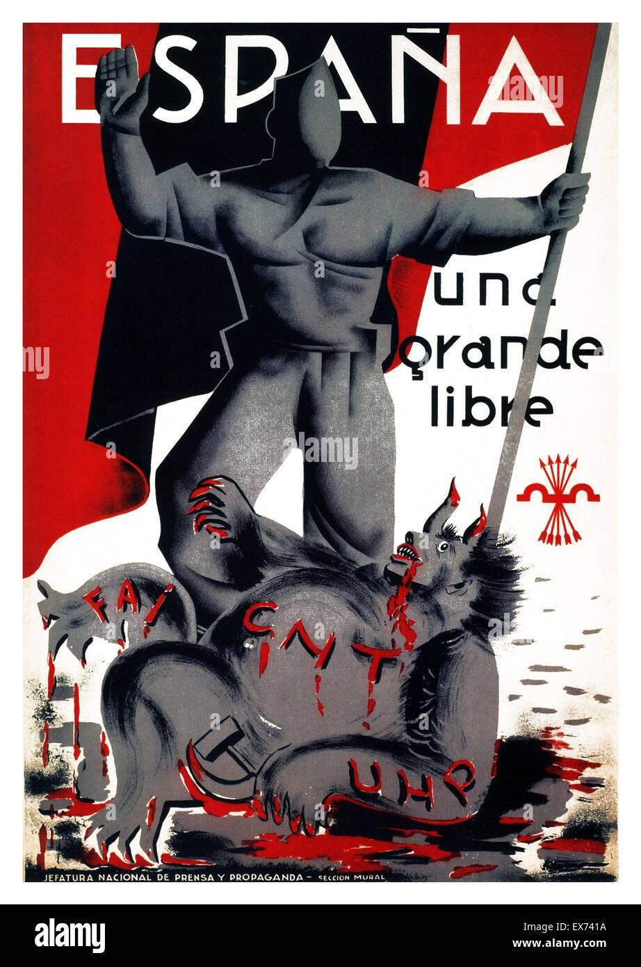 Espana una grande libre. Service de propagande nationaliste, affiche, guerre civile espagnole. Una, Grande y Libre Photo Stock
