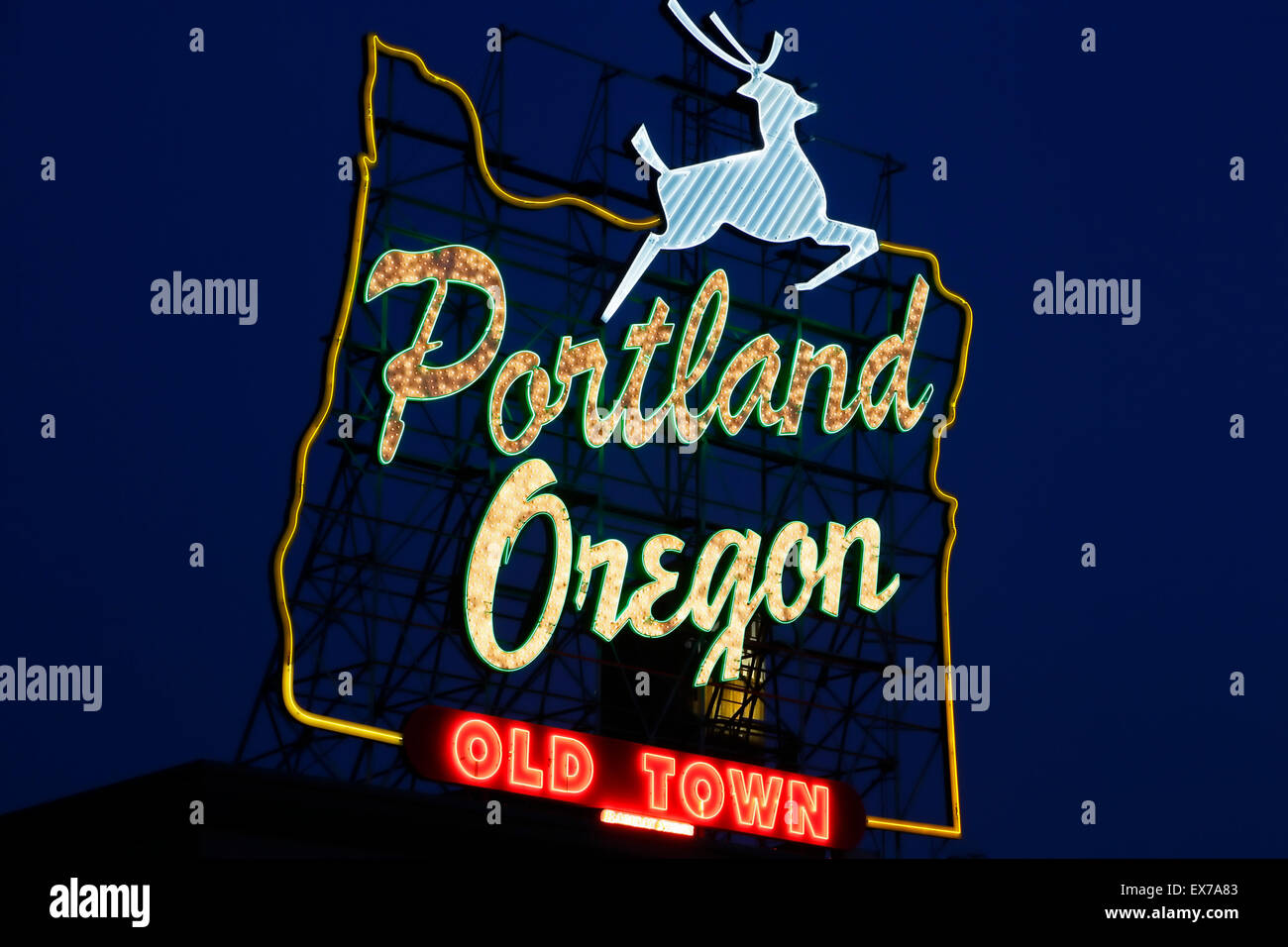 Portland Oregon 'vieille ville' en néon, Portland, Oregon, USA Photo Stock