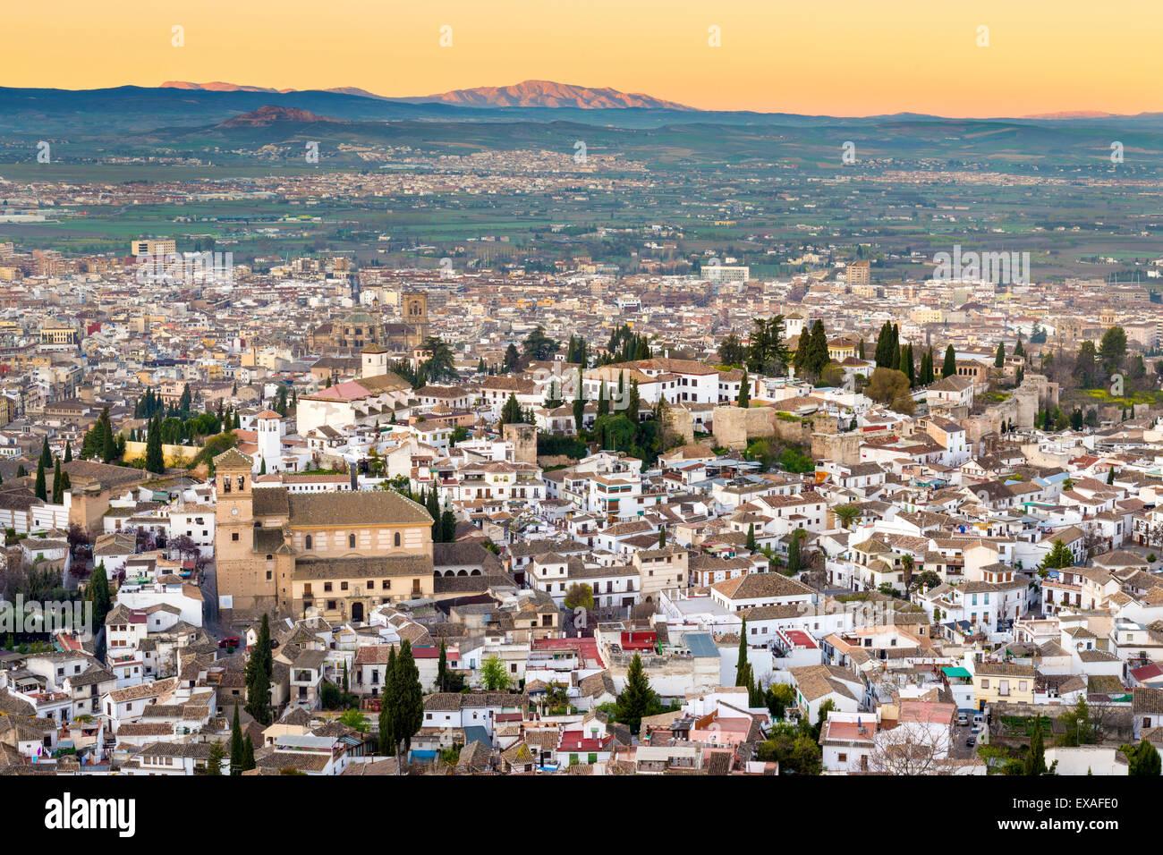 Ville de Grenade y compris la Iglesia del Salvador, Grenade, Andalousie, Espagne, Europe Photo Stock
