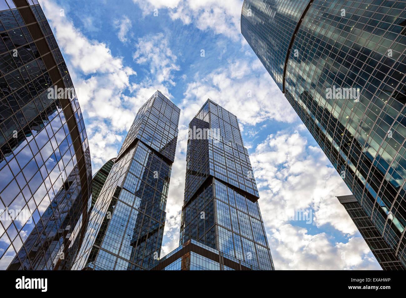 Gratte-ciel moderne de la Moscow-City International Business et finances développement, Moscou, Russie, Europe Photo Stock