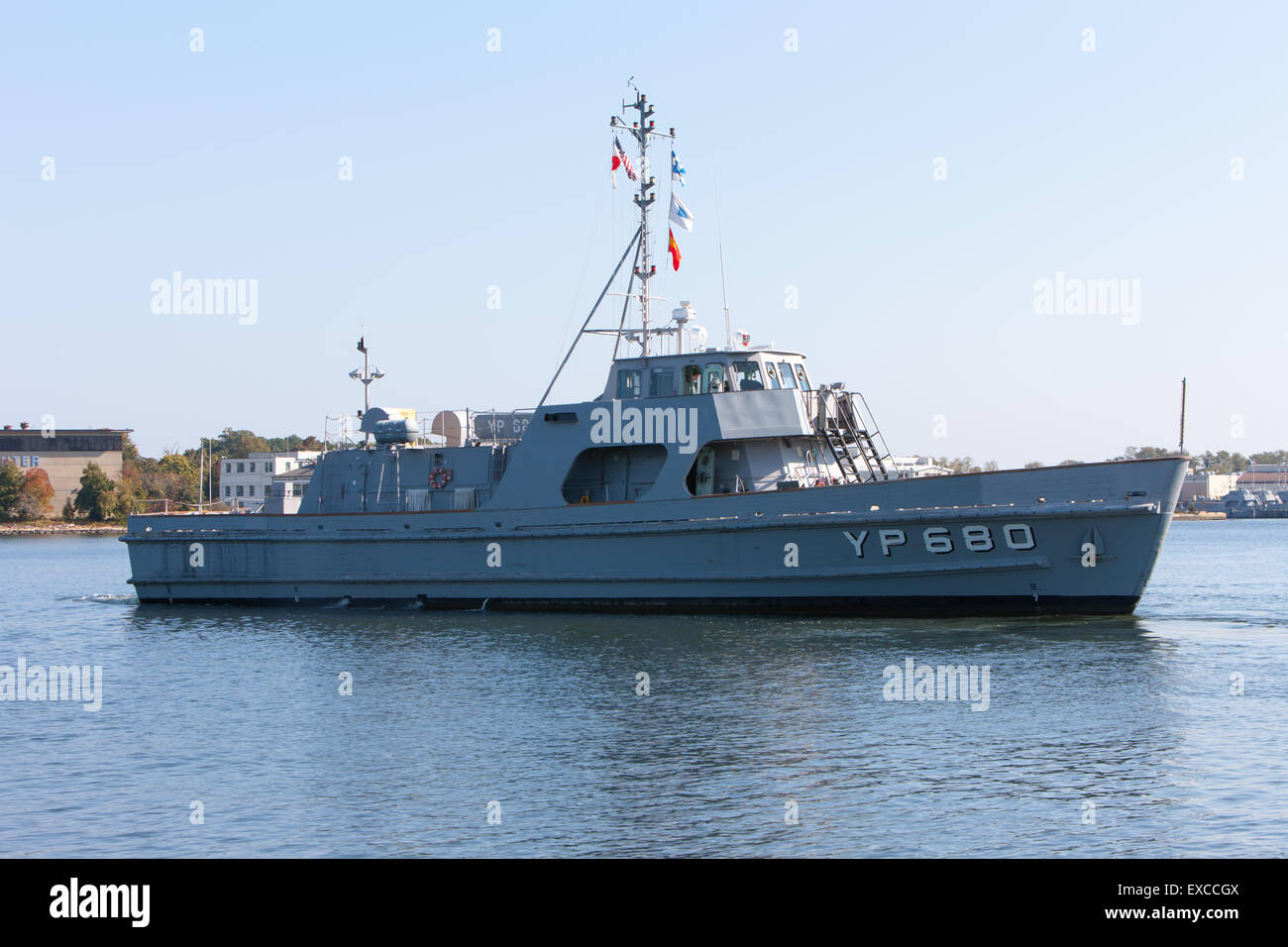 Une patrouille de l'US Navy Yard sur la rivière Severn à Annapolis (Maryland) Photo Stock