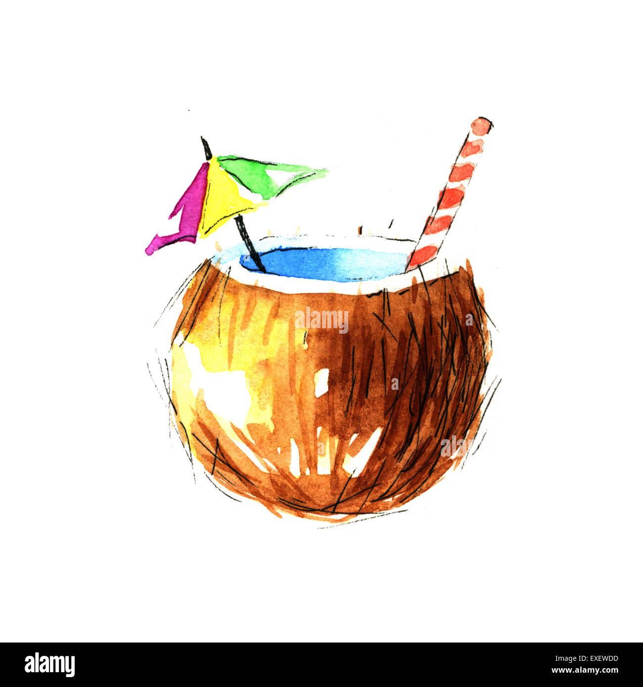 Cocktail de noix de coco  Illustration à l'aquarelle sur