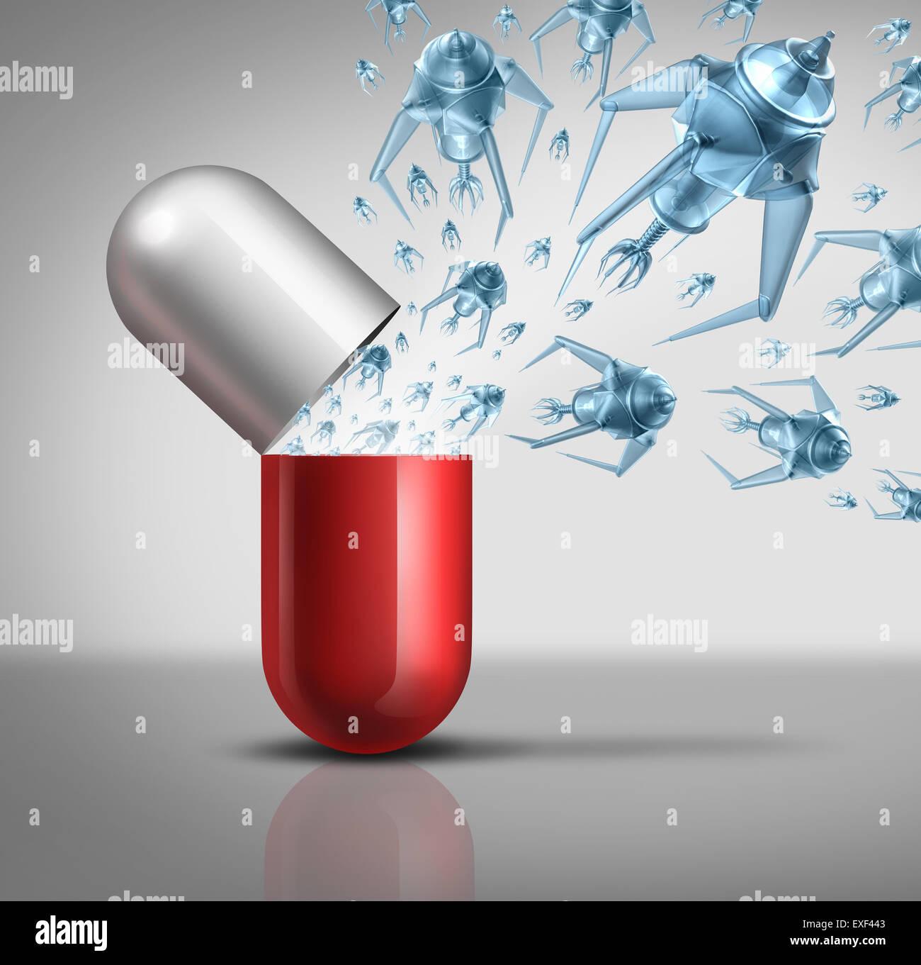 Nano médicaments et la technologie médicale et la nanotechnologie medicine concept comme un groupe de robots nano microscopique ou nanobots programmé pour tuer la maladie humaine qui sortent d'un comprimé capsule comme une icône de la santé futuriste. Banque D'Images