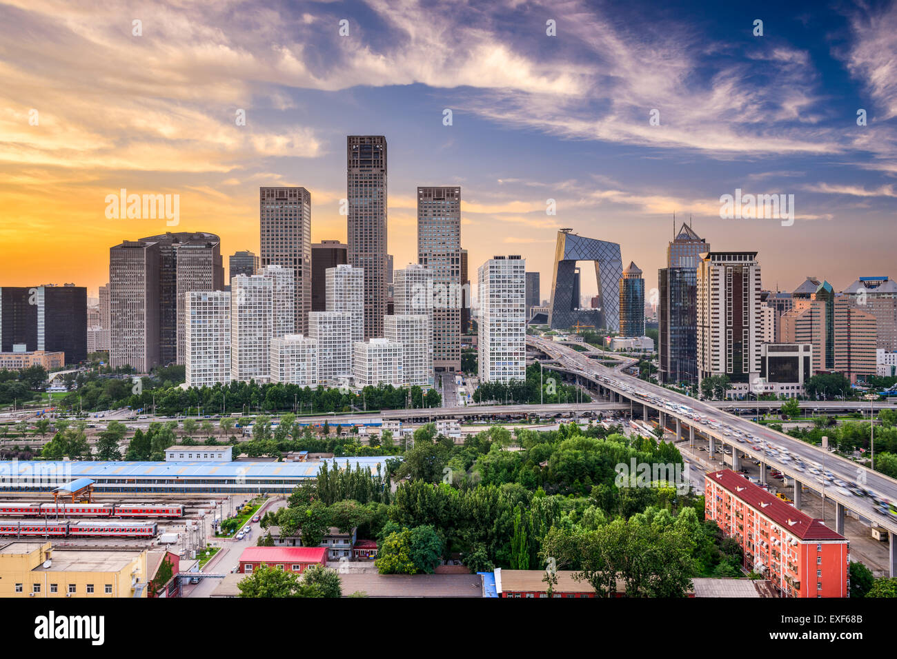 Beijing, Chine financial district au crépuscule. Photo Stock