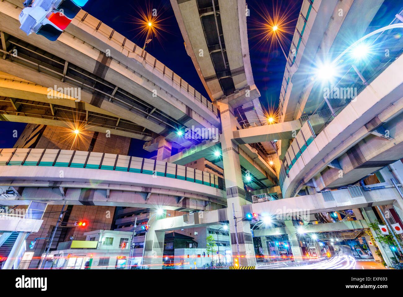 Tokyo, Japon cityscape et jonction de l'autoroute. Photo Stock