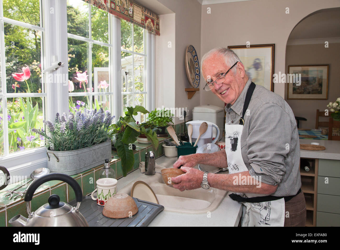 Man en cuisine, lave-vaisselle Photo Stock