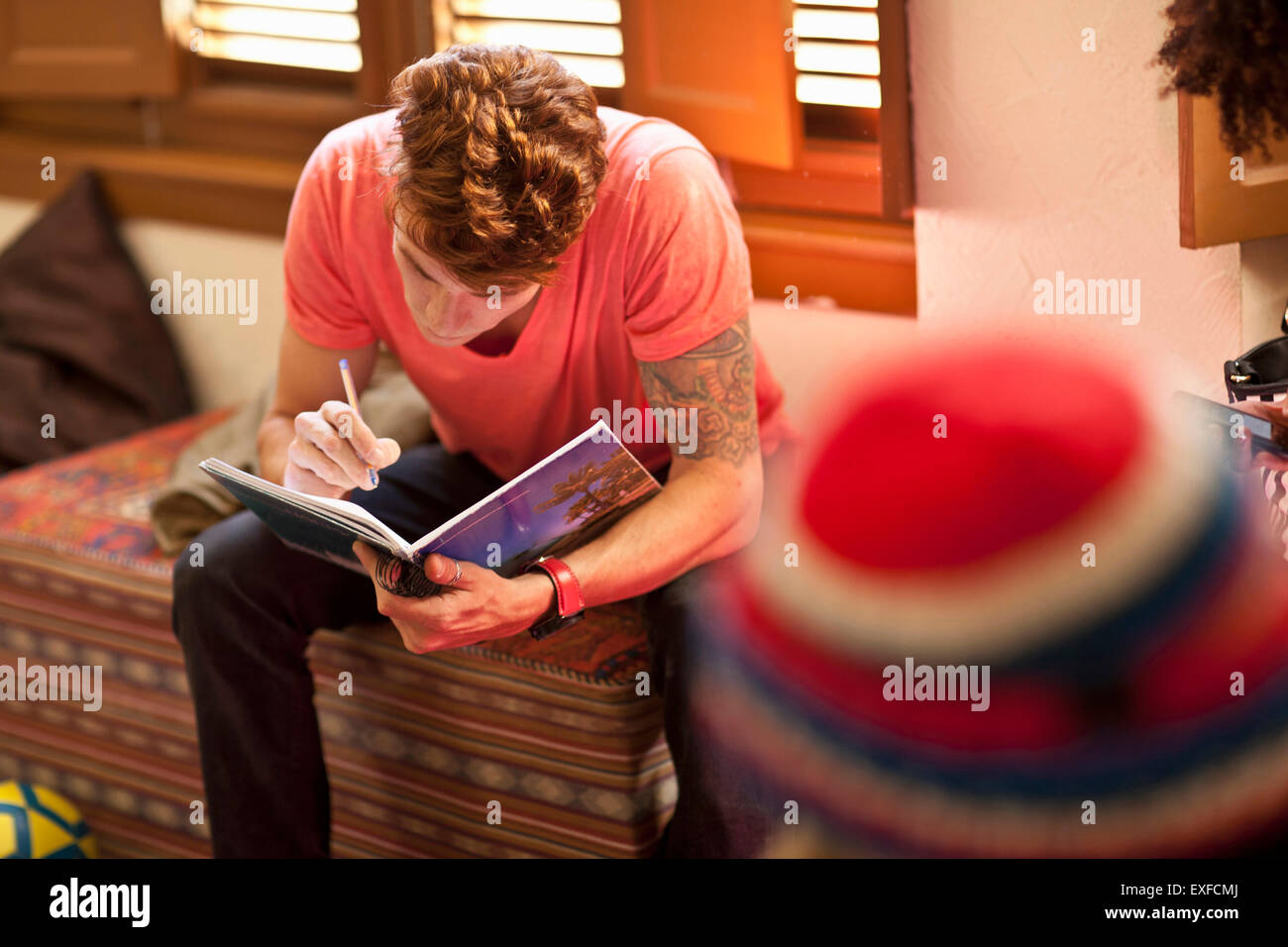 Student studying in living room Photo Stock