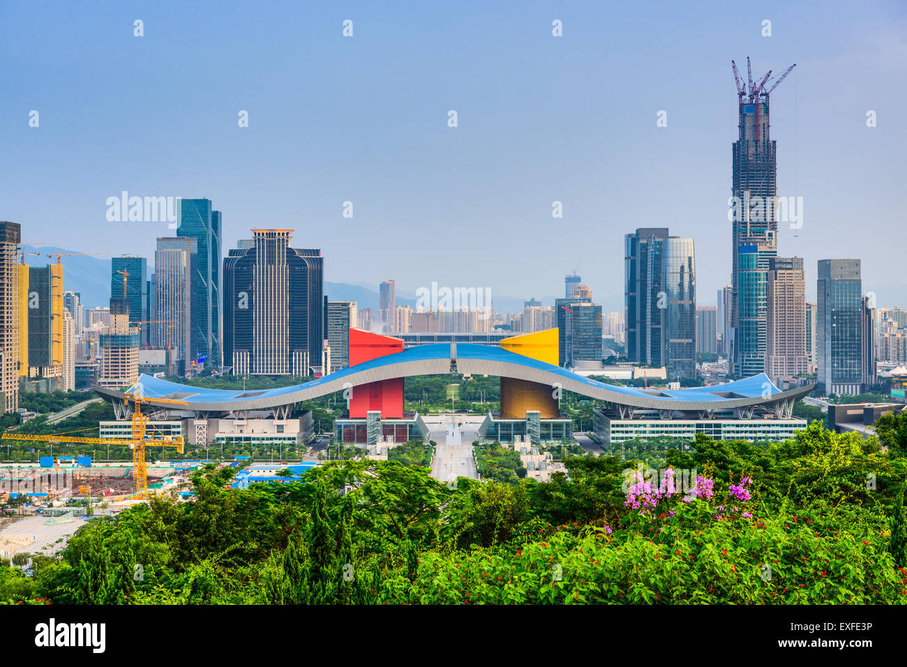 Shenzhen, Chine sur les toits de la ville dans le quartier de Civic Center. Photo Stock