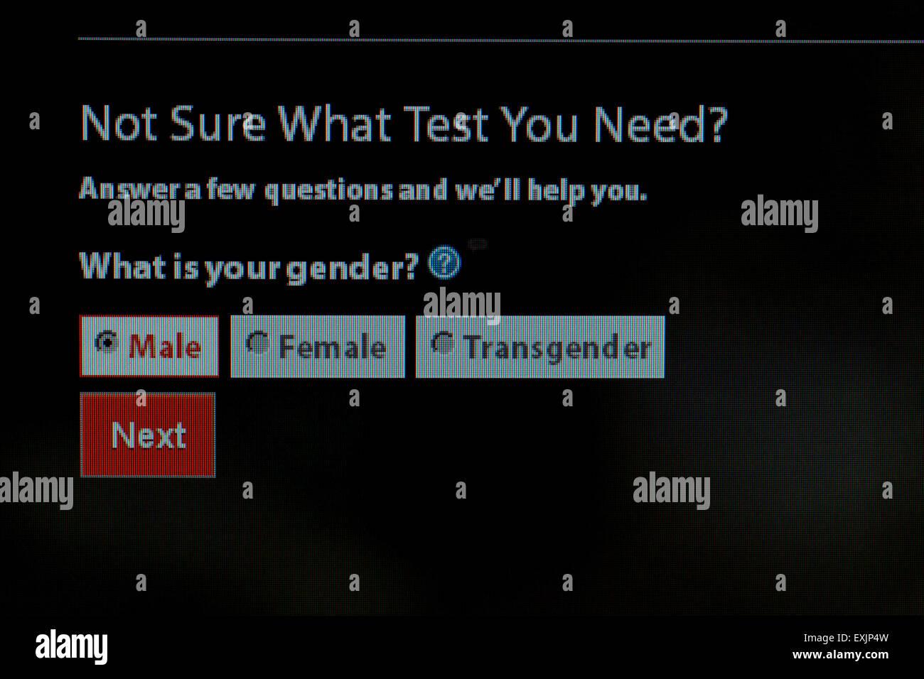 Le choix du sexe de l'homme, femme, et transgenre, sur le VIH / dépistage des MTS d'information sur Photo Stock