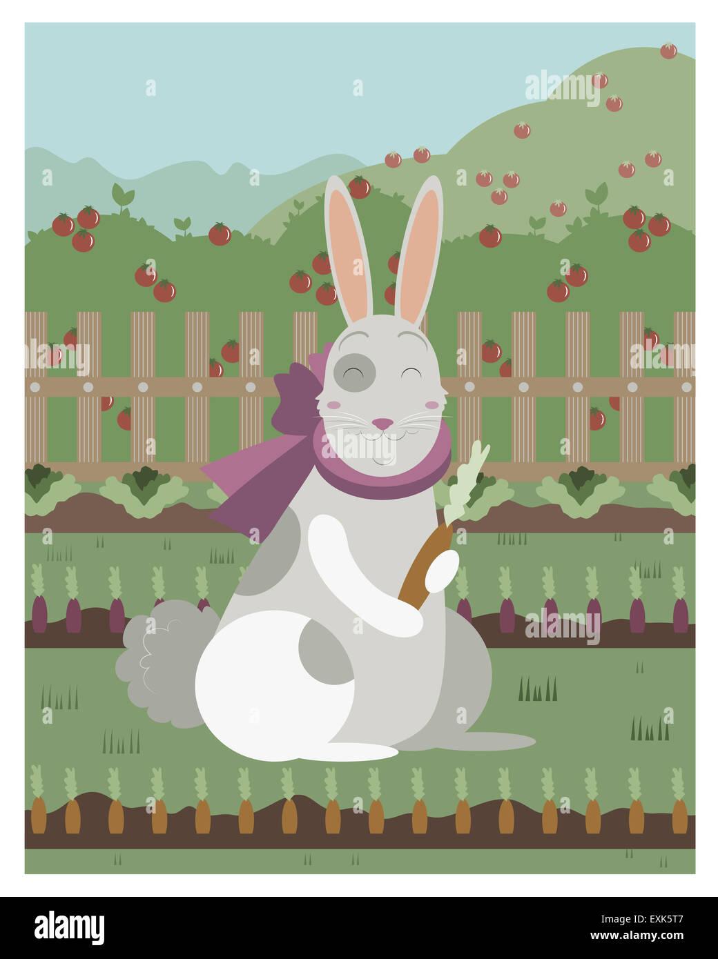 Lapin avec une carotte en fichier vectoriel éditable Photo Stock