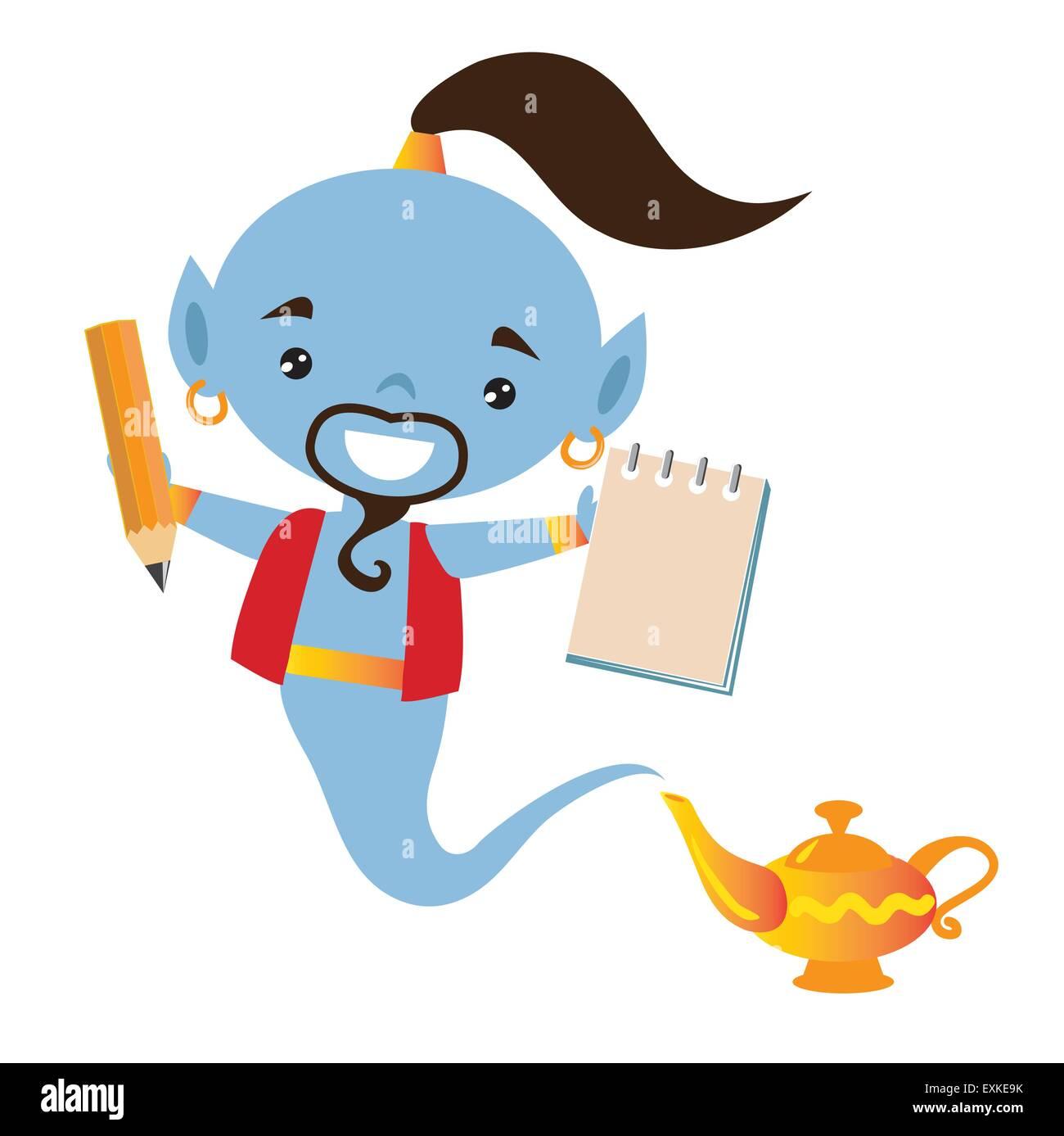 Genie Lampe Magique Caricature Vecteurs Et Illustration Image