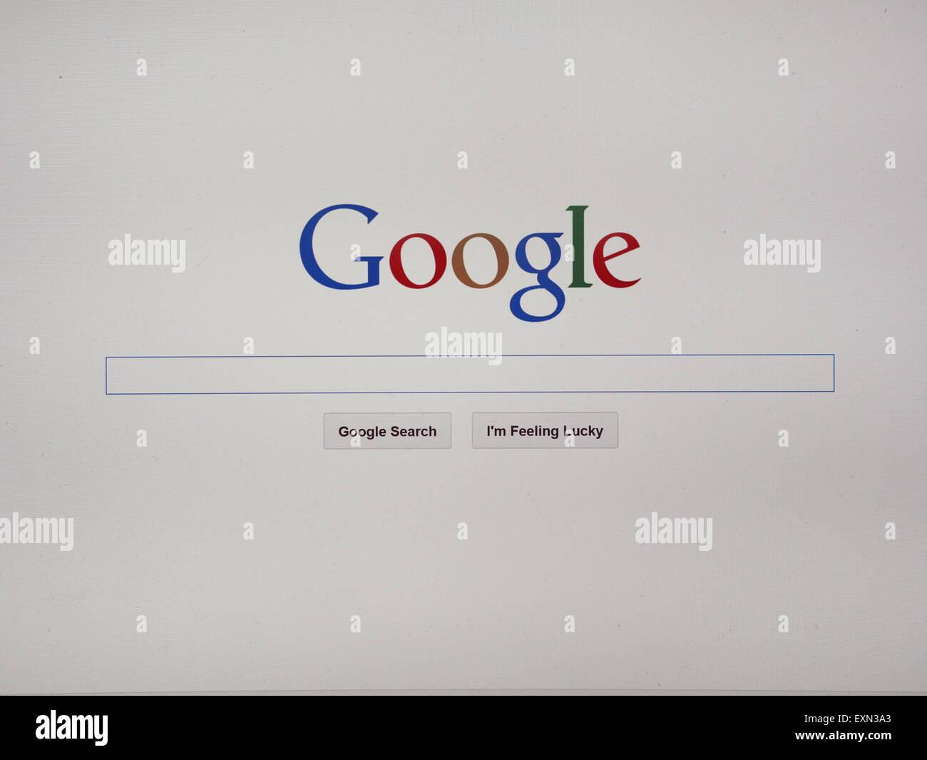 Google moteur de recherche sur internet page d'accueil Photo Stock