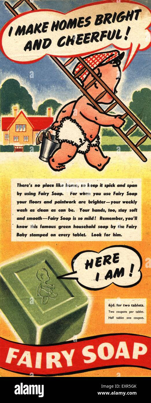 1950 UK Magazine Fée Annonce Photo Stock