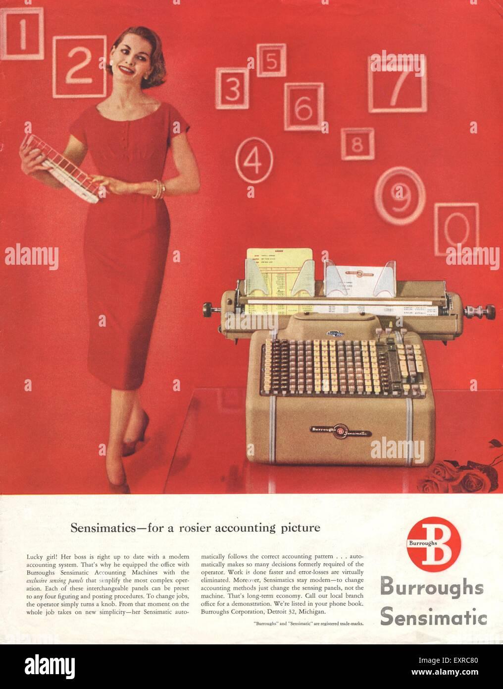 1950 USA Burroughs Annonce magazine Photo Stock
