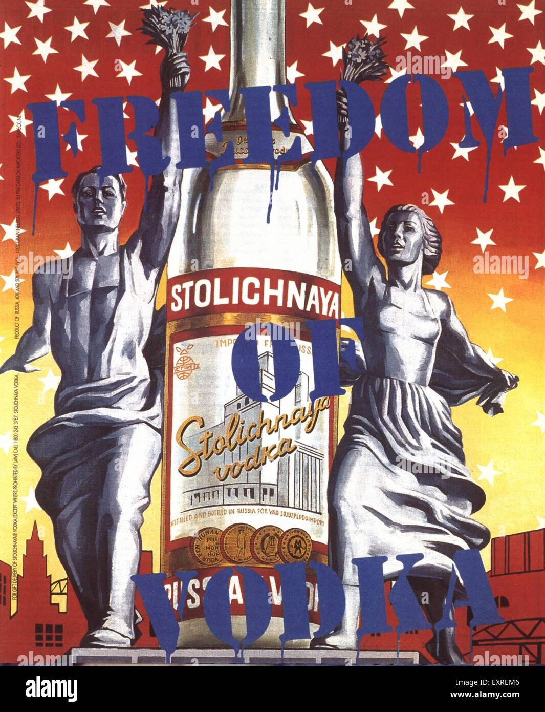 1990 UK Stolichnaya Poster Photo Stock