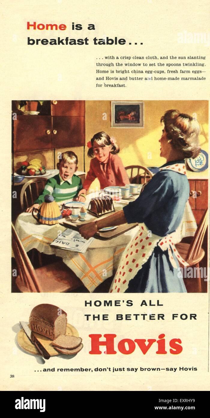 1950 UK Magazine Hovis Annonce Photo Stock