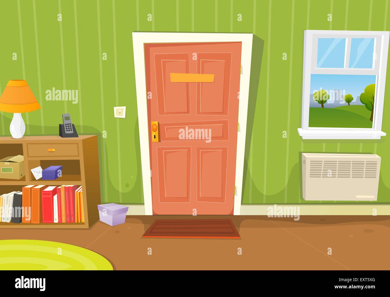 Illustration dun cartoon home intérieur avec salon entrée de porte divers objets ménagers