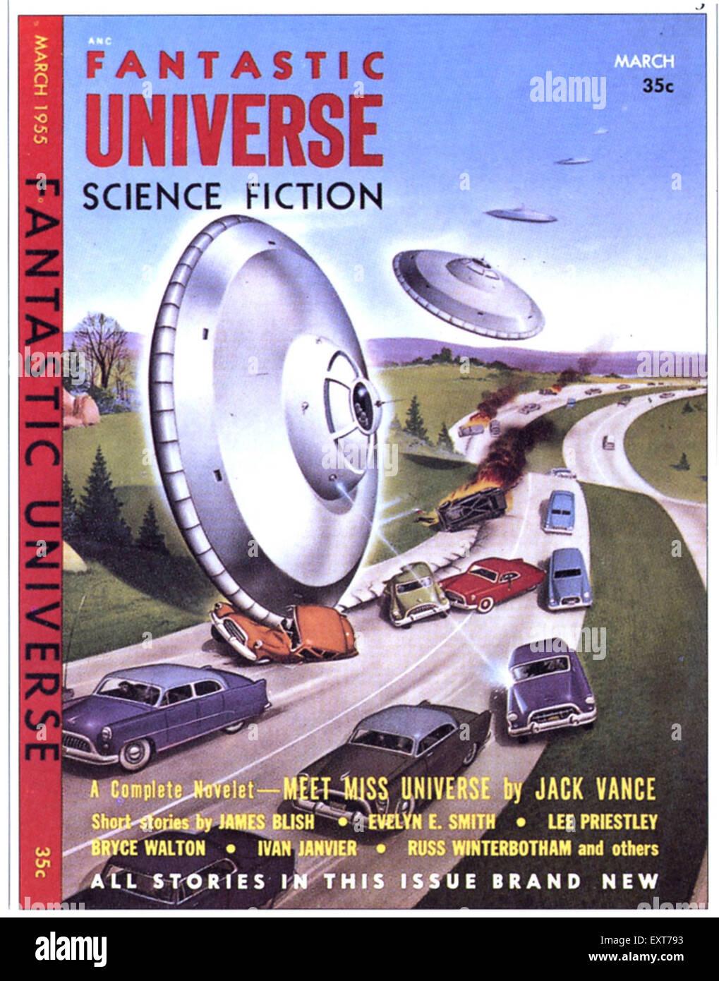 1950 USA univers fantastique Couverture de livre Photo Stock