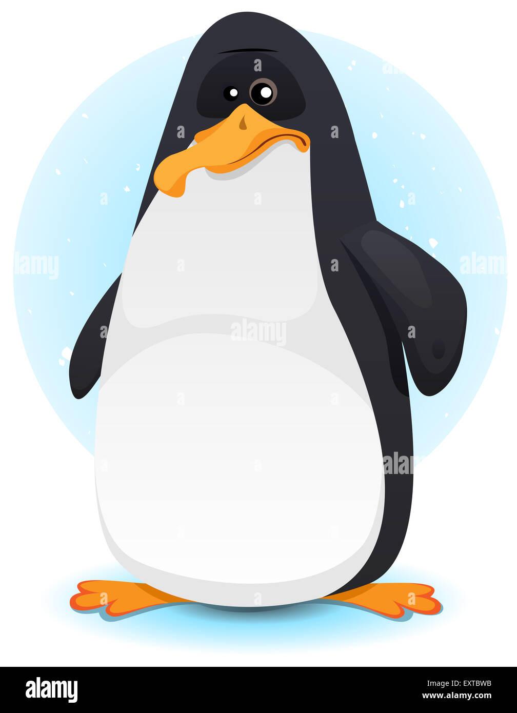 Illustration D Un Petit Personnage De Dessin Anime Pingouin Sur La