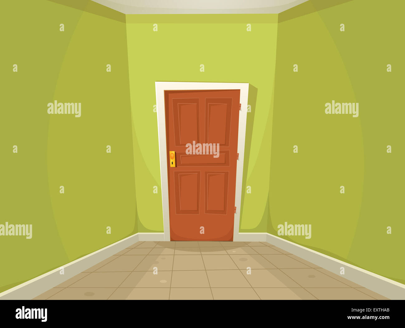 Illustration d un dessin de maison ou bureau couloir avec sol