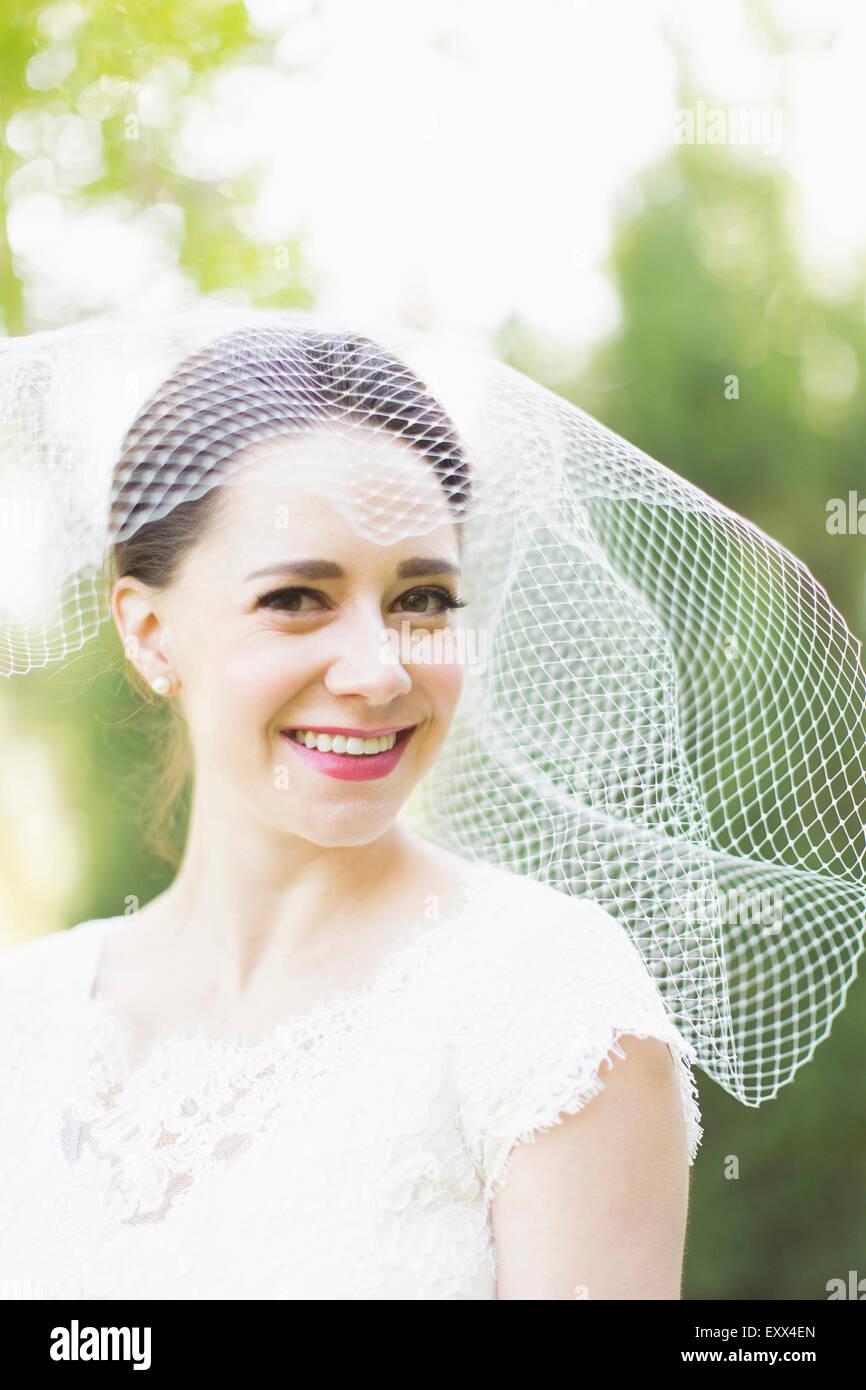 Portrait of smiling bride Photo Stock