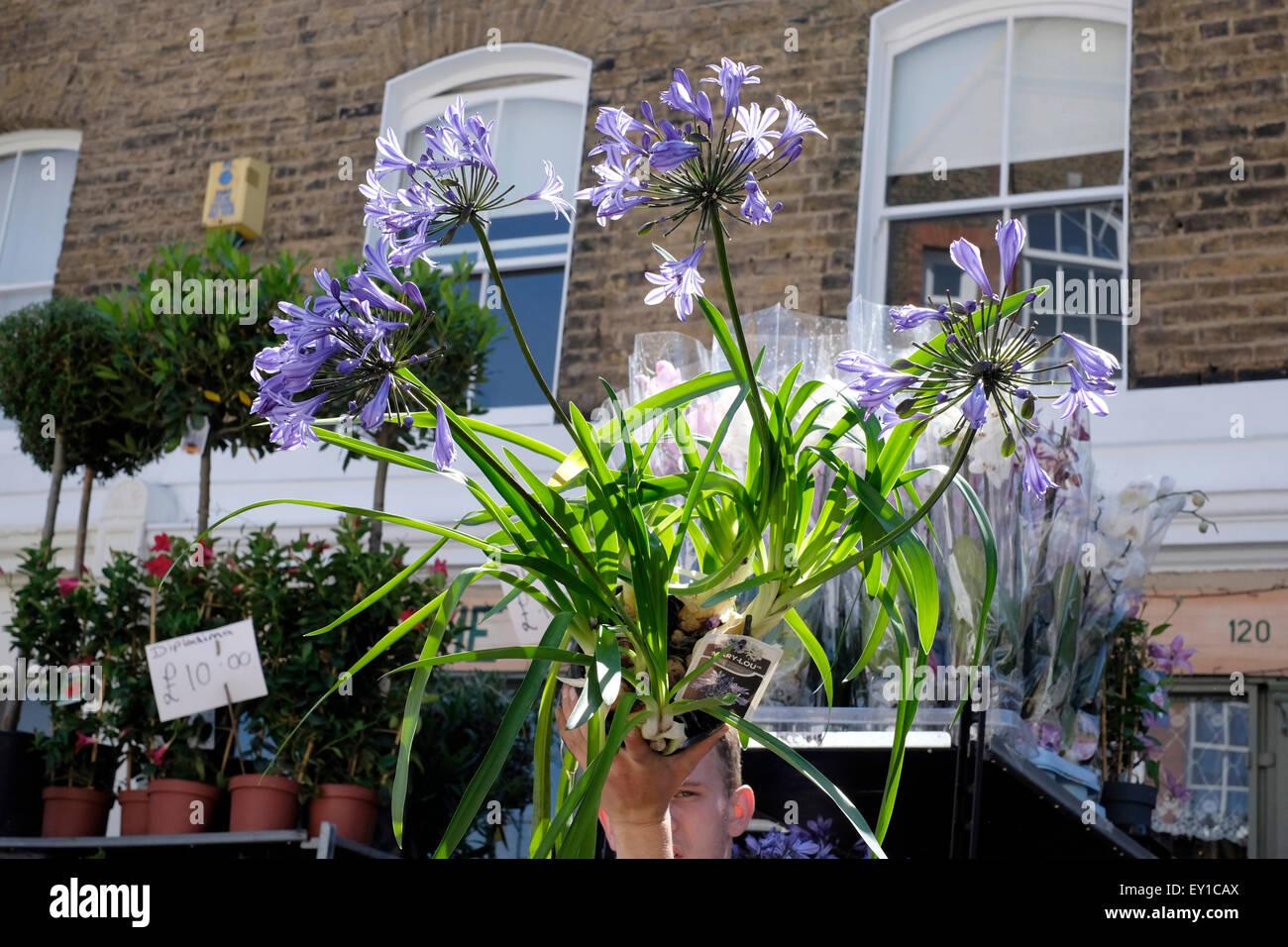 Un vendeur qui détient un pot de plantes de Columbia Road Flower Market Photo Stock