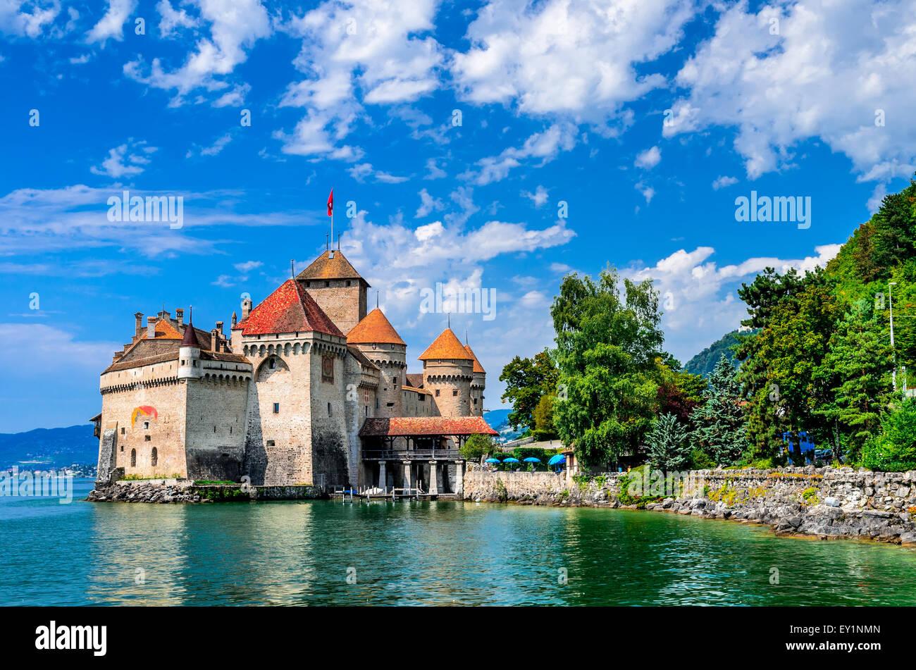 La Suisse. Château de Chillon l'un des plus visités en château attire suisse à Genève lac. Banque D'Images