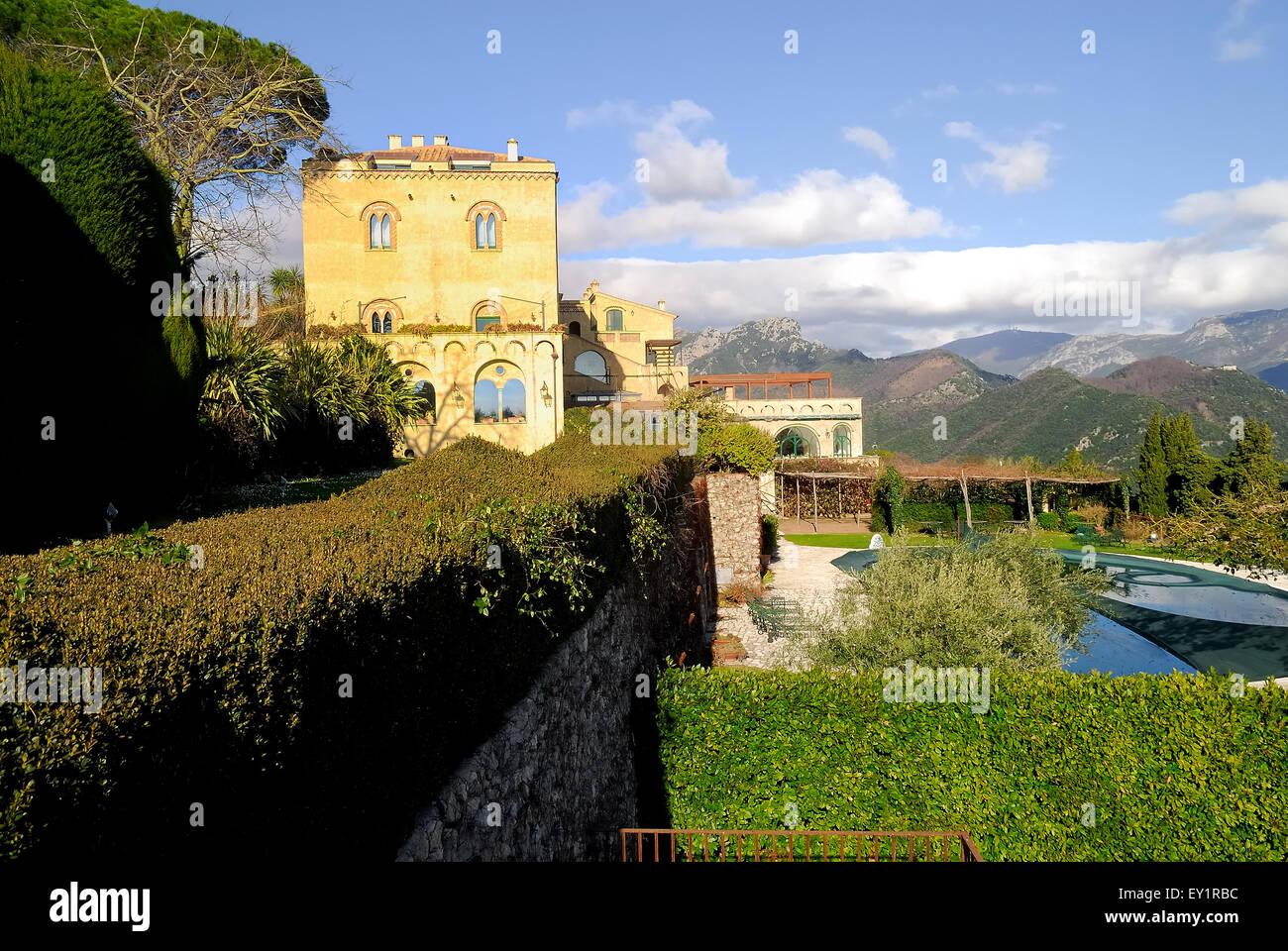 Ravello, Côte Amalfitaine, Campanie, Italie. Hotel Villa Cimbrone, l'hôtel est à l'intérieur Photo Stock