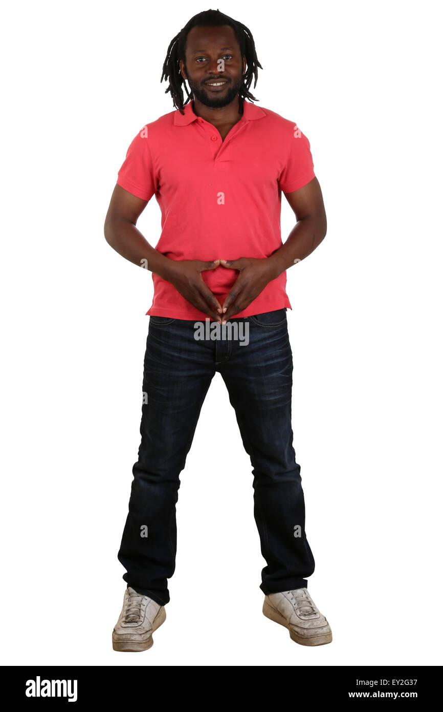 Portrait de tout le corps d'un jeune homme noir isolé sur fond blanc Photo Stock