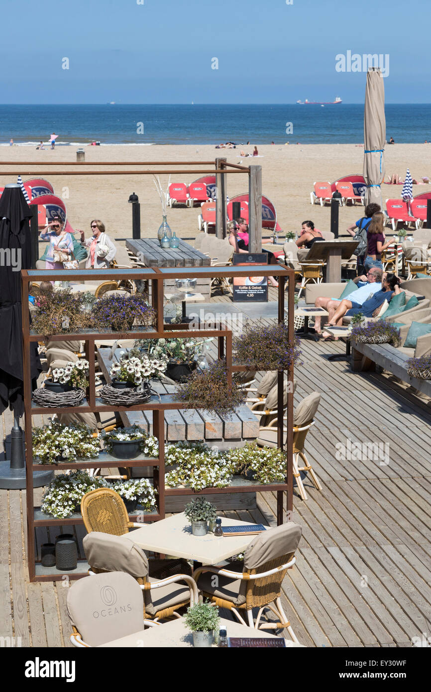 Le bar-restaurant de la plage des océans, Scheveningen, Hollande, Pays-Bas Photo Stock