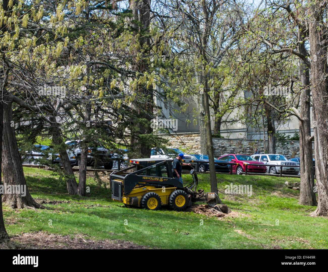 Les mini-New Holland avec outil de coupe, journal du campus de l'Université du Kansas, Lawrence, Kansas, Photo Stock