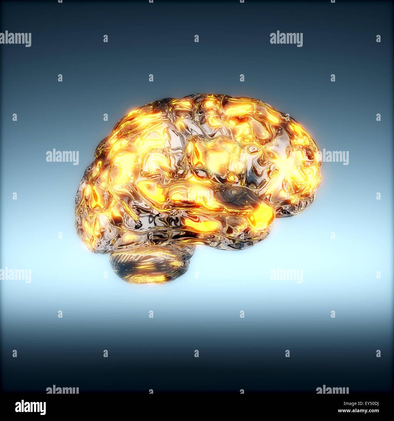 Le rendu 3D du cerveau humain en verre avec lumière rougeoyante des taches. Concept d'un cerveau humain Photo Stock